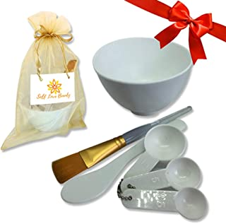 Facial Clay Mask & Mud Mask Mixing Silicone Bowl & Tool Set- DIY with FREE Gold Bag, Brush, White Spatula, Measuring Spoons| For Deep Pore Cleansing With Secret Indian Healing Bentonite Clay Mask