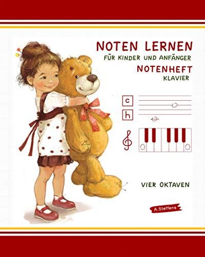 Notenheft. Noten lernen für Kinder und Anfänger. Klavier. Vier Oktaven.