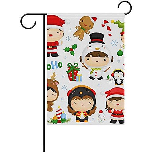 KL Decor Thuis Tuin Vlaggen, Leuke Kinderen In Kerst Kostuum Stijlvolle Seizoensgebonden Tuin Vlaggen Voor Welkom Decoratie