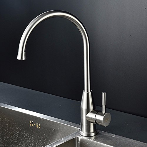 QMPZG-Edelstahl Küchenarmaturen, 304 Wasserhahn, warme und kalte Mischung pflanzlicher Spültischarmatur - 2
