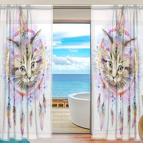 Ahomy Transparenter Voile-Fenstervorhang Katze Aquarell Traumfänger Halb-Voile-Vorhänge für Wohnzimmer Schlafzimmer 139,7 x 198,1 cm Länge, 2 Paneele, Polyester, multi, 139.7x198.1 cm