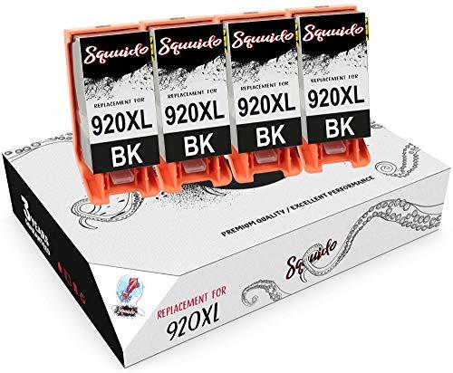 Squuido 4 Negro Cartuchos de Tinta CD975AE 920 XL 920XL compatibles para HP OfficeJet 6000 6500 6500A 7000 7500A | Alto Rendimiento 1200 páginas