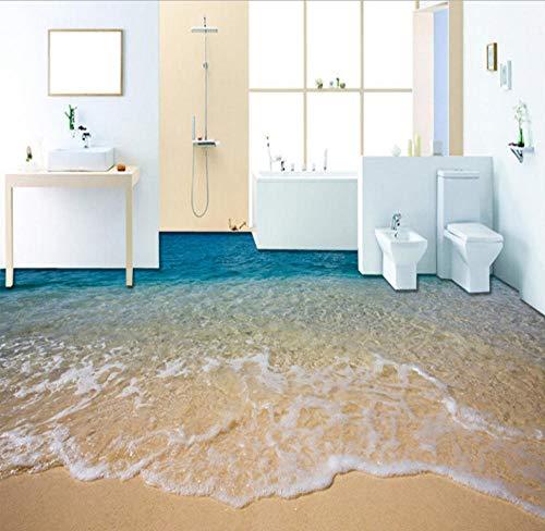hhlwl Boden Wandbild Tapete 3D Stereoscopic Beach Floor Sticker PVC Wasserdicht Selbstklebend Rutschfeste Tapete Wohnkultur-200cmx140cm