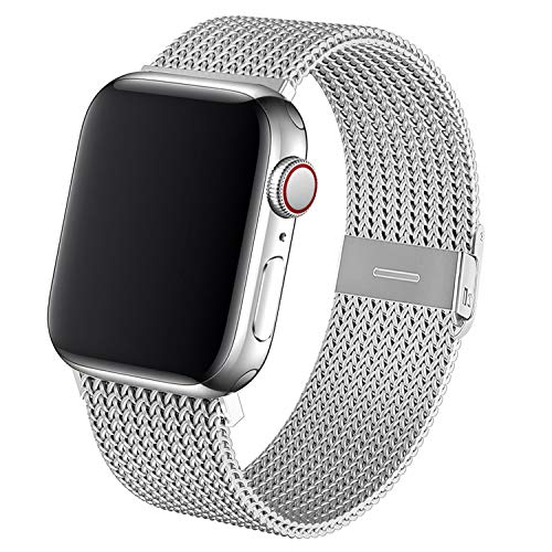 Dratar Metal Strap Compatible with Apple Watch Strap 38mm 40mm 42mm 44mm, Stainless Steel Mesh Loop Replacement Wristband Compatible with iWatch Series 5 4 3 2 1 (42MM/44MM, Silver)