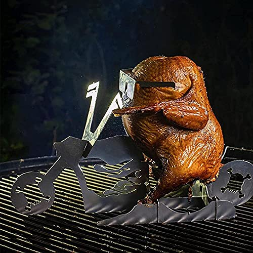 DYBOHF Portable Chicken Stand Beer American Motorcycle BBQ, American Motorcycle Beer Can Chicken Stand- BBQ, Portable Chicken Stand Beer Grill, with Glasses Tools, Barbecue Accessori (Scheletro)