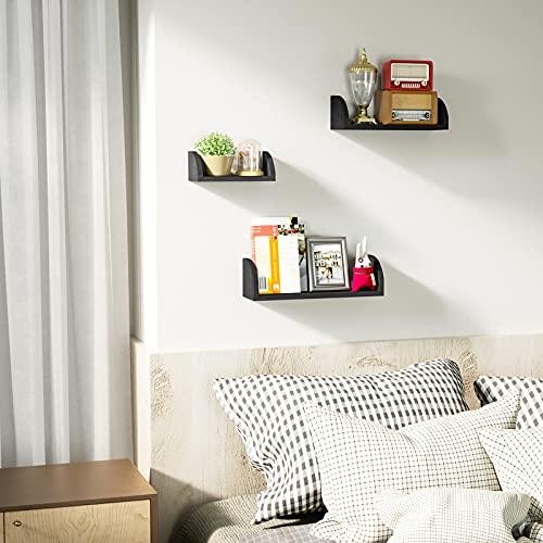 SRIWATANA Floating Shelves Wall Mounted, Wood Shelves Wall Bookshelves Set of 3 for Bedroom, Living Room, Bathroom, Kitchen - Black
