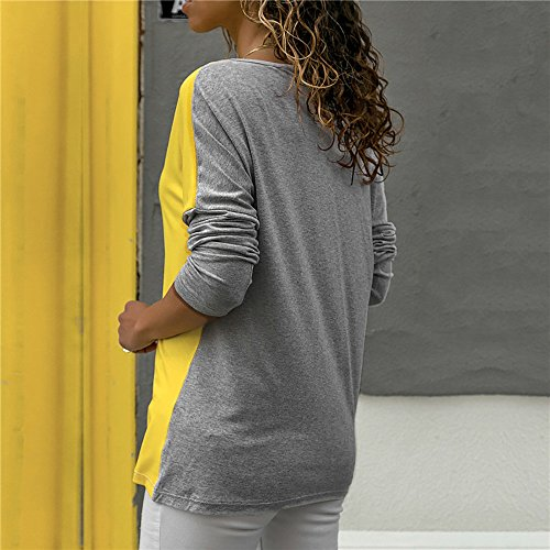 Blusa Moda Patchwork Casual para Mujer Sudadera con Capucha Tallas Grandes Color Block Tallas Grandes O-Neck Manga Larga Camiseta Tops Invierno Abrigos Liquidación de Venta SHOBDW (Gris,L)