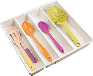 mDesign Organizador de cubiertos con 4 divisiones – Cuberteros extensibles para ordenar utensilios de cocina en cajones – Bandeja para cubiertos y para organizar diversos artículos – crema