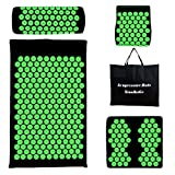 4pcs Luxury Yoga Acupressure Mat and Pillow Set with Bag - Massage Acupuncture Mat - Foot Massager Pad - Naturally Relax Back, Neck and Feet Muscles - Stress and Pain Relief
