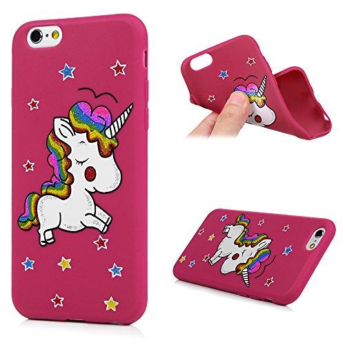 iPhone 6Plus 6S Plus custodia, Kasos Unicorn Bling morbido silicone gel cover posteriore con simpatici adesivi TPU case [ultra slim fit] leggera antiurto custodia per iPhone 6Plus/iPhone 6s Plus
