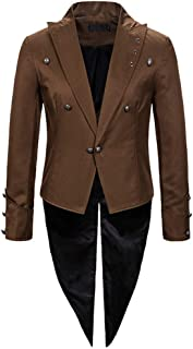 Longline Solid Tuxed Brocade Steampunk Double Breasted Button Jacket Stoota Mens Gothic Frock Uniform Tailcoat