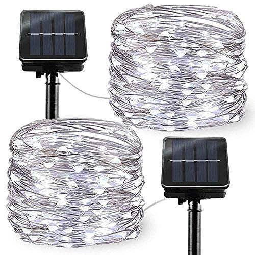 Solar Powered String Lights, 2 Pack Outdoor String Solar Garden Fairy Lights Waterproof 27ft 8 Modes 50 LED Copper Wire Decorative Lights for Garden Patio Yard Home Wedding Party (Cool White)