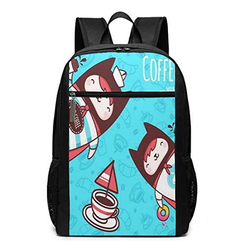 Schulrucksack Donuts Tasse Kaffee Katze, Schultaschen Teenager Rucksack Schultasche Schulrucksäcke Backpack für Damen Herren Junge Mädchen 15,6 Zoll Notebook