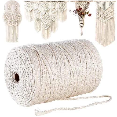 Cuerda de macramé 3 mm x 210 m Cuerda de algodón 4 capas Cordón de algodón natural para colgar plantas Decoración de bricolaje, Tejido de adornos bohemios, Atrapasueños, Decoraciones de boda - Beige