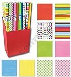 10er Rollen Set Geometric Streifen Muster Bunt rot gelb orange Geschenkpapier 200 x 70 cm...