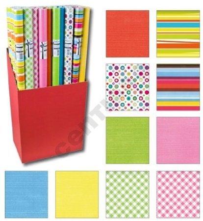 10er Rollen Set Geometric Streifen Muster Bunt rot gelb orange Geschenkpapier 200 x 70 cm verschiedene Designs