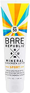 Bare Republic Mineral SPF 50 Sport Sunscreen Lotion. Natural Vanilla Coconut Scented Long-Lasting and 80 Minute Water-Resistance Sunscreen, 5 Ounces