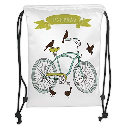 Fashion Printed Drawstring Backpacks Bags,Bicycle,I Love My Bike Concept with Birds on the Seat Cruisers Basic Vehicle Simplistic Art,Green Blue Soft Satin,5 Liter Capacity,Adjustable String Closu