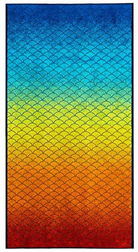 Lashuma Strandhandtuch Rainbow, Buntes XXL Liegetuch 180 x 90 cm, Weiches Velours Badehandtuch in Regenbogenfarben