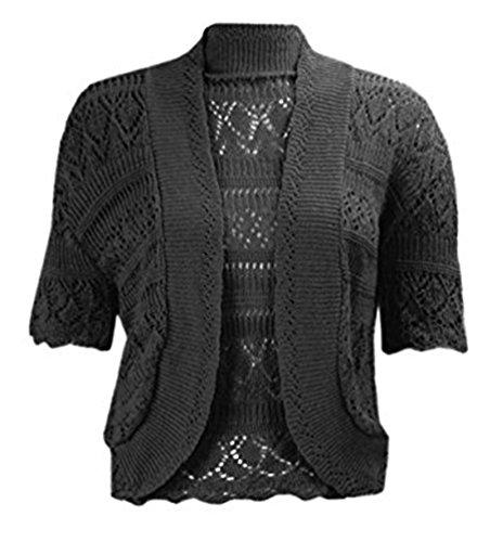 PurpleHanger Women's Plus Size Crochet Shrug Bolero Open Cardigan Black 24-26