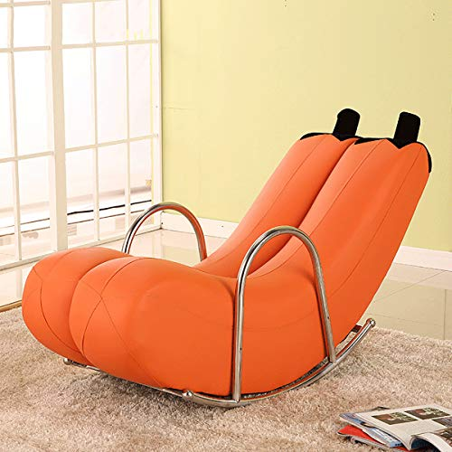 HE-XSHDTT Nordic Simple Single Couch Sofa Moon Chair Kleine Wohnung Moderne Tatami Creative Swivel Reclinable Waschbare Banane Recliner Rocking Personality Cute,Orange Leather