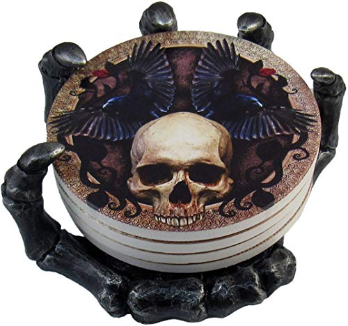 DWK - Helping Hand - Beautiful Gothic Skull Beverage Coasters with Creepy Skeleton Hand Holder for Halloween Home Kitchen Dining and Bar Décor Accent, 5.5-inch
