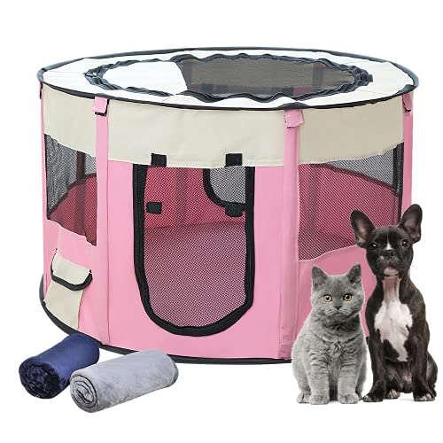 EZGETOP Hundelaufställe Welpenauslauf Faltbar Welpenlaufstall Tierlaufstall für Hunde Rosa, 1 extra 100 x 70 cm Kuscheldecke