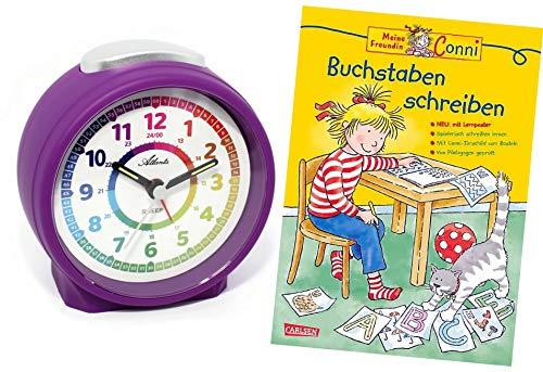 Atlanta Despertador infantil sin tic-tac, con libro de aprendizaje de letras y letras 'Conni', 1999-8 BU