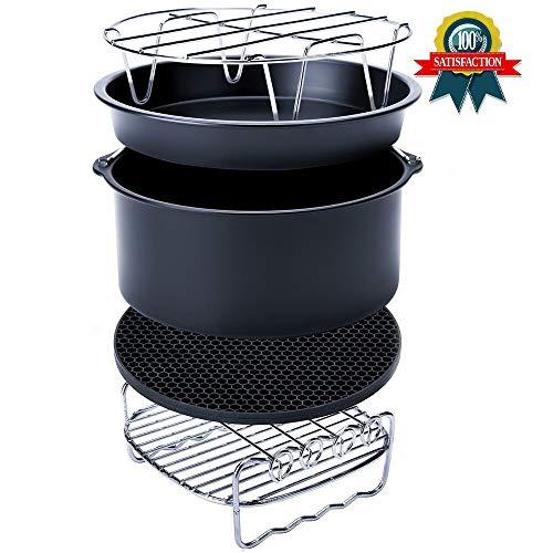 Luft-Fritteuse-Einbausatz, 6 Zoll (5-teiliges Set) 2.6L oder mehr Fassungsvermögen einschließlich Kuchenbehälter, Backblech, Grill, Topflappen und Topflappen