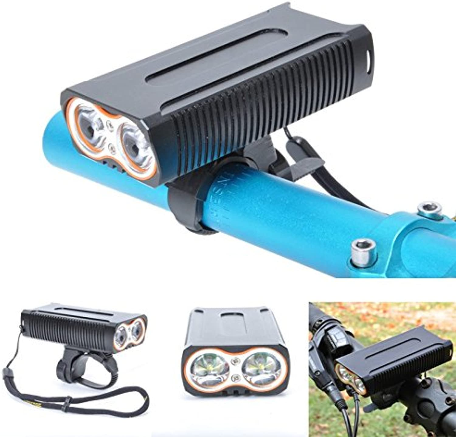 Exinnos DL09 800LM 2 x T6 LED 4 Modes Wide Angle IP65 Waterproof USB Charging Bike Front Light  Bicycle Lights  Headlights