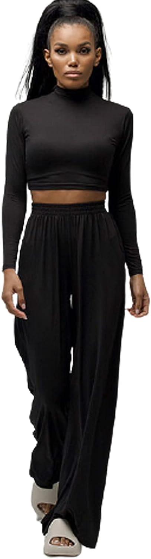 Women's Loose Home Wear Suit Long-Sleeve Slim Crop Top + Wide-Leg Trousers Casual Slacks Sports Sets Yoga Jogging Suit