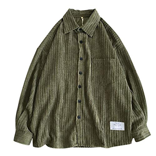 Salalook overhemd met lange mouwen voor mannen, koord, eenkleurig, borstzak met omslagkraag, eenkleurig flanelhemd, casual blouse, warm, Regular Plus Fit