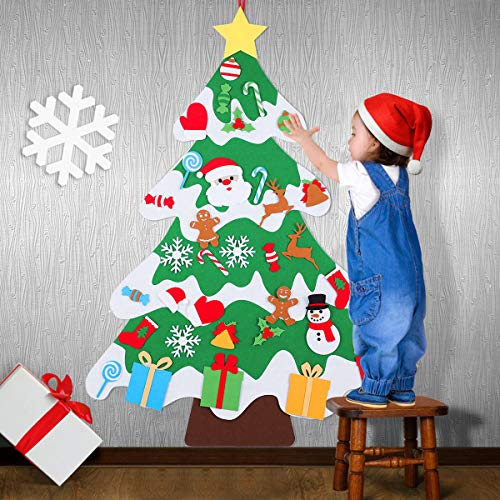 HXS 3.4Ft Felt Christmas Tree Kids Christmas Tree Felt Tree for Toddlers DIY Tree with 34Pcs Christmas Ornaments Wall Hanging Christmas Tree Kids, Christmas Party Supplies