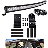 Dasen For 50' 288W High Power Curved LED Light Bar w/Pro-Fit Cage Upper Roof Windshield...