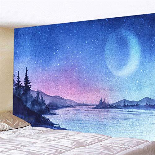 WERT Tapiz de Paisaje de Luna y Cielo Estrellado tapices de Pared Tela para Colgar en la Pared decoración del hogar Tapiz de Tela de Fondo A8 150x200cm