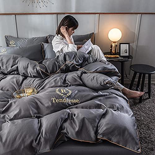 Bedding-LZ Funda Nordica Cama 150/135 Microfibra,Ensalada de Verano Ropa de Cama de Seda edredón de Cuatro Piezas-U_Cama de 2.0m (4 Piezas) (220x240)