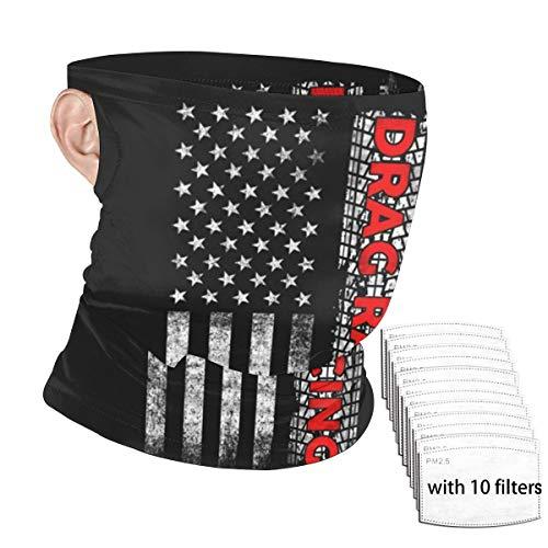 LouisBerry Gesichtsschal Drag Racing Flagge Amerika Design Neck Gaiter Unisex Ohr-Montage Windschutzscheibe Bandana mit Filter Gesichtsschutz