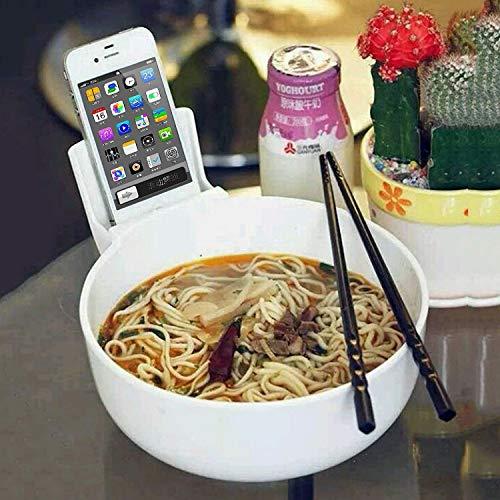 nobrand Wangmeng Nudel-Schüssel Creative Multi-Funktions-Geschirr mit Telefon-Halter (schwarz) (Color : White)