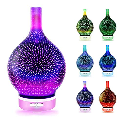Essential Oil Diffuser, 3D Firework Glass Essential Oil Aroma Diffuser LED Ultrasonic Humidifier 120ml, 7 Color Changing LEDs, Adjustable Mist Mode and Waterless Auto-Off, 3D Aromatic Night Light