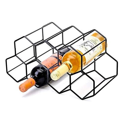 Botellero de metal con forma de panal de abeja para 9 botellas, soporte de almacenamiento de vino apilable, estante de almacenamiento para mostrador, botellero de mesa (negro)