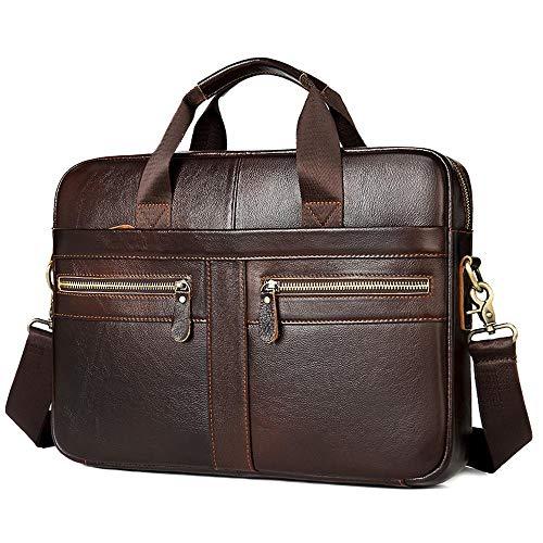Men's Leather Handbag Horizontal Leather Shoulder Bag 14 inch Laptop Briefcase-Dark Brown