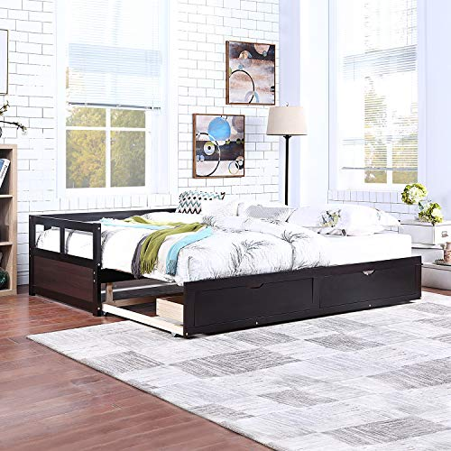 SOFTSEA Extendable Woodem Daybed with Trundle and Two Storage Drawers, Sofa Bed for Bedroom Living Room (Espresso)