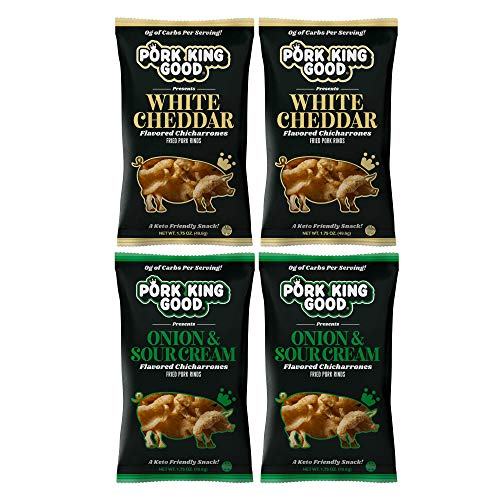 Pork King Good Pork Rinds (Chicharrones) (Variety 4 Pack: White Cheddar / Onion & Sour Cream)