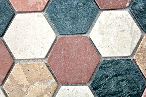 Mozaïek tegel marmer natuursteen crème beige rood groen Hexagon Random MOS42-1213_m