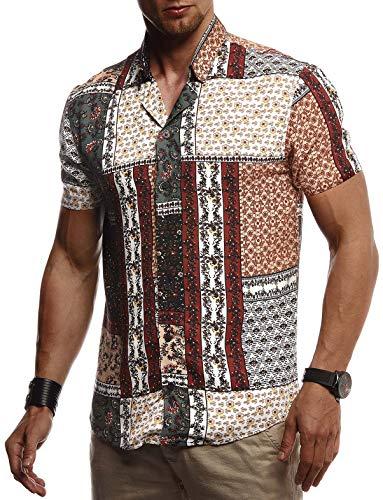 Leif Nelson Herren Hemd Kurzarm Oversize Kentkragen Stylisches Männer Hawaiihemd Stretch Kurzarmhemd Jungen Basic Shirt Freizeit Urlaub Sommerhemd Freizeithemd LN3735 Multi Small