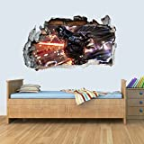 L Vinyl Wall Smashed 3D Art Stickers of Illustrated Darth Vader Poster Bedroom Boys Girls