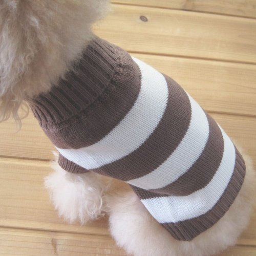 Turtleneck Stripes Pet Clothes Dog Wool Classic Sweaters (Brown&White Stripe, S)