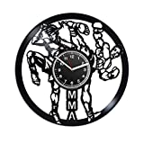 Kovides Mixed Martial Arts Wall Clock Vintage Record Clock Birthday Gift Idea for Him Exclusive Retro Clock 12 Inch MMA Gift for Men Unique Decals Minimalist Decor for Office Hobby MMA Sport Clock
