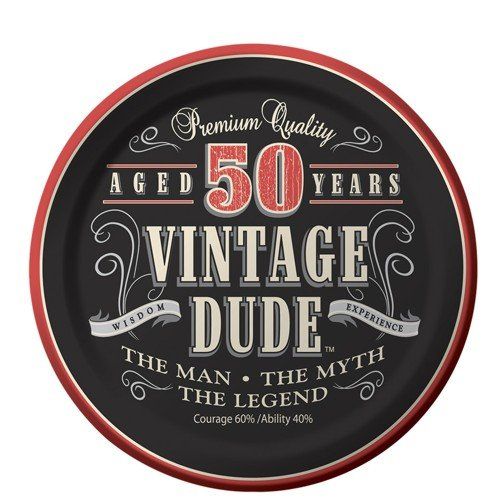 50th Birthday Vintage Dude Aged 50 Years Birthday ~Edible Icing Image Cake/cupcake Topper!!! (1/4 Sheet)