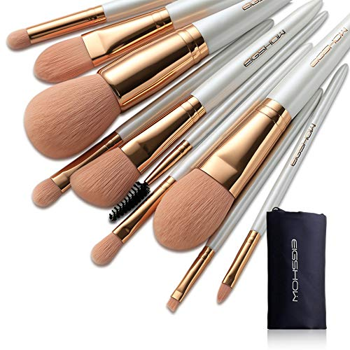 Makeup Brush Set 10Pcs Vegan Makeup Brush Set High-tech Nanometer Fiber Foundation Brush Travel Brush Concealer Cosmetic Eyeshadow Brush Sets (Vegan 10pcs RoseGold)